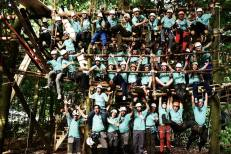 Gruppenfoto v Liv hoch die Arme